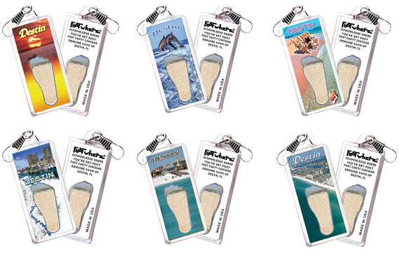 Destin FootWhere® Souvenir Zipper-pulls. 6 Piece Set. Made in USA-FootWhere® Souvenirs