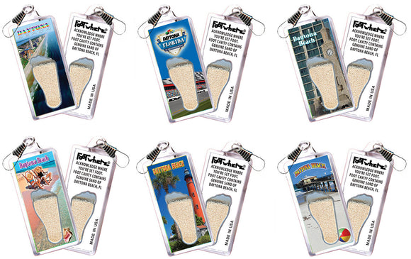 Daytona Beach FootWhere® Souvenir Zipper-Pulls 6 Piece Set. Made in USA-FootWhere® Souvenirs