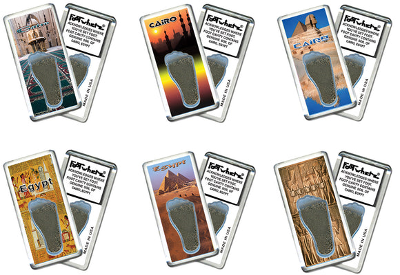 Cairo FootWhere® Souvenir Fridge Magnets. 6 Piece Set. Made in USA-FootWhere® Souvenirs