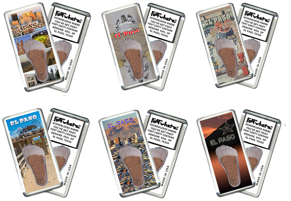 El Paso FootWhere® Souvenir Fridge Magnets. 6 Piece Set. Made in USA-FootWhere® Souvenirs