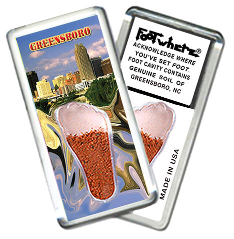 Greensboro FootWhere® Souvenir Fridge Magnet. Made in USA-FootWhere® Souvenirs