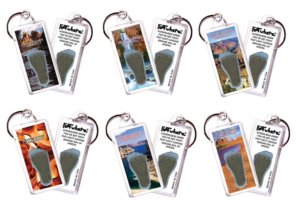 Grand Canyon FootWhere® Souvenir Keychains. 6 Piece Set. Made in USA-FootWhere® Souvenirs