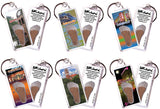 Gainesville FootWhere® Souvenir Keychains. 6 Piece Set. Made in USA-FootWhere® Souvenirs
