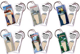 Galveston FootWhere® Souvenir Keychains. 6 Piece Set. Made in USA-FootWhere® Souvenirs