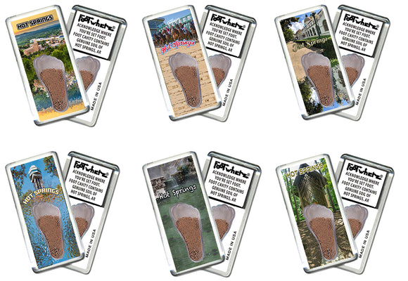 Hot Springs FootWhere® Souvenir Fridge Magnets. 6 Piece Set. Made in USA
