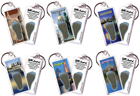 Hartford FootWhere® Souvenir Keychains. 6 Piece Set. Made in USA
