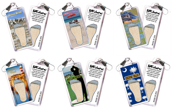 Hilton Head FootWhere® Souvenir Zipper-Pulls. 6 Piece Set. Made in USA
