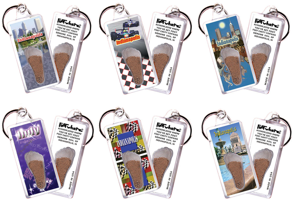 Indianapolis FootWhere® Souvenir Keychains. 6 Piece Set. Made in USA
