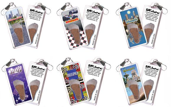 Indianapolis FootWhere® Souvenir Zipper-Pulls. 6 Piece Set. Made in USA