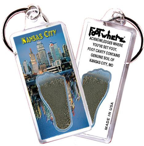 Kansas City FootWhere® Souvenir Keychain. Made in USA - FootWhere® Souvenirs