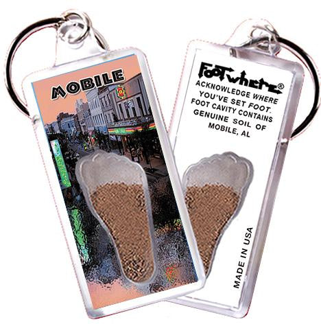 Mobile, AL FootWhere® Souvenir Key Chain. Made in USA-FootWhere® Souvenirs