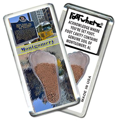 Montgomery, AL FootWhere® Souvenir Fridge Magnet. Made in USA - FootWhere® Souvenirs