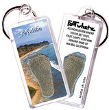 Malibu FootWhere® Souvenir Keychain. Made in USA - FootWhere® Souvenirs