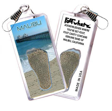 Malibu FootWhere® Souvenir Zipper-Pull. Made in USA - FootWhere® Souvenirs