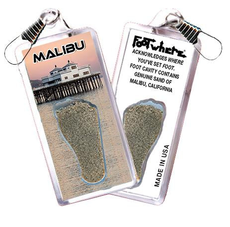 Malibu FootWhere® Souvenir Zipper-Pull. Made in USA-FootWhere® Souvenirs