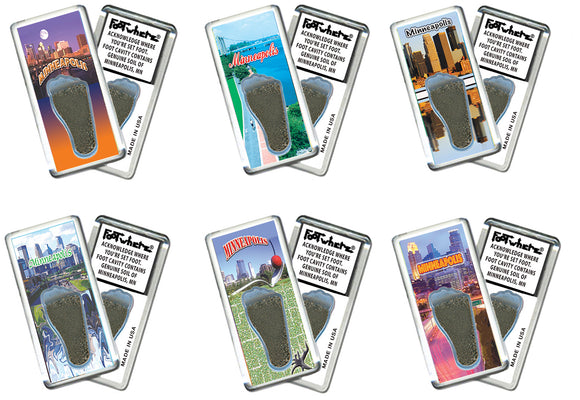 Minneapolis FootWhere® Souvenir Fridge Magnets. 6 Piece Set. Made in USA-FootWhere® Souvenirs