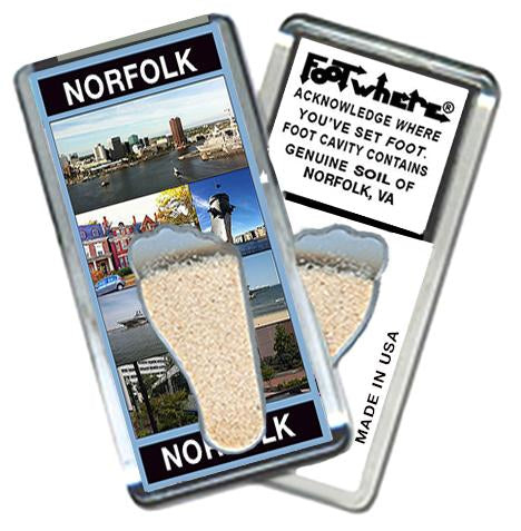 Norfolk FootWhere® Souvenir Fridge Magnet. Made in USA-FootWhere® Souvenirs