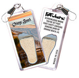 Orange Beach FootWhere® Souvenir Zipper-Pull. Made in USA