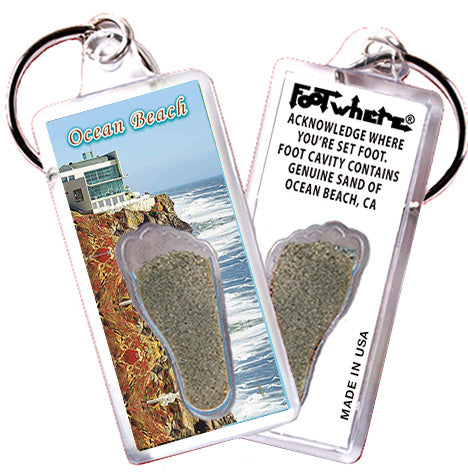 Ocean Beach FootWhere® Souvenir Keychain. Made in USA-FootWhere® Souvenirs