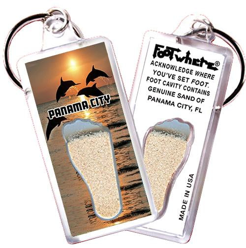 Panama City, FL FootWhere® Souvenir Key Chain. Made in USA-FootWhere® Souvenirs