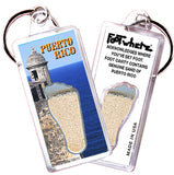 Puerto Rico FootWhere® Souvenir Keychains. 6 Piece Set. Made in USA