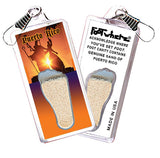Puerto Rico FootWhere® Souvenir Zipper-Pulls. 6 Piece Set. Made in USA