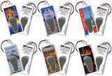 Paris FootWhere® Souvenir Keychains. 6 Piece Set. Made in USA