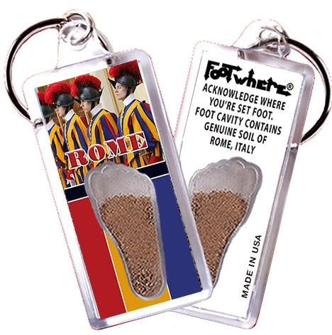 Rome, Italy FootWhere® Souvenir Keychain. Made in USA-FootWhere® Souvenirs