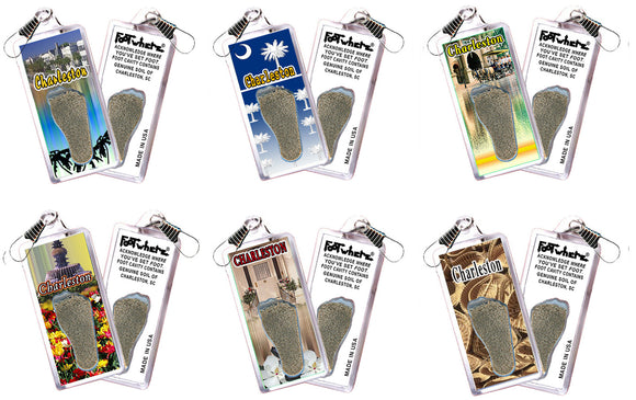 Charleston, SC FootWhere® Souvenir Zipper-Pulls. 6 Piece Set. Made in USA-FootWhere® Souvenirs