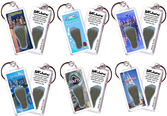 Seattle FootWhere® Souvenir Keychains. 6 Piece Set. Made in USA