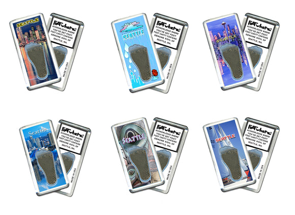 Seattle FootWhere® Souvenir Fridge Magnets. 6 Piece Set. Made in USA