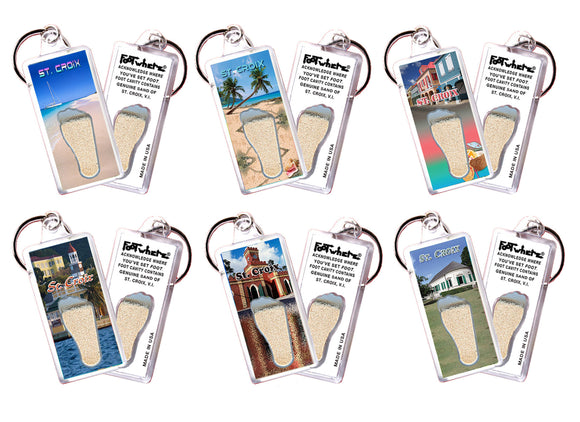 St. Croix FootWhere® Souvenir Keychains. 6 Piece Set. Made in USA