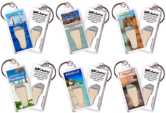 Anguilla FootWhere® Souvenir Keychains. 6 Piece Set. Made in USA - FootWhere® Souvenirs