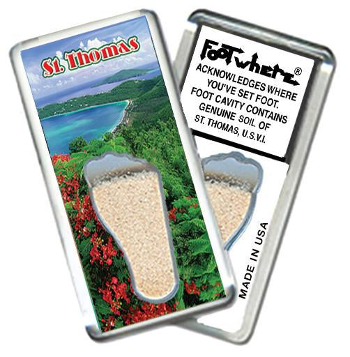 St. Thomas, V.I. FootWhere® Souvenir Magnet. Made in USA - FootWhere® Souvenirs