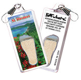 St. Thomas FootWhere® Souvenir Zipper-Pulls. 6 Piece Set. Made in USA