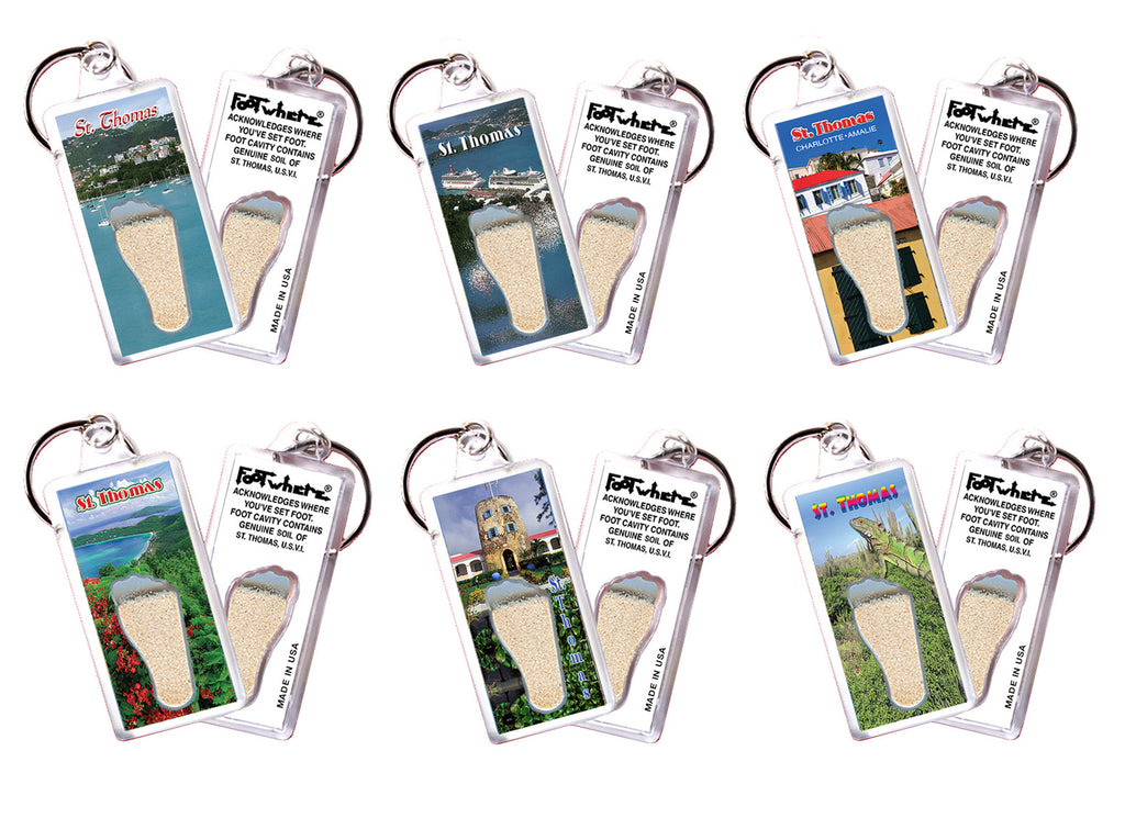 St. Thomas FootWhere® Souvenir Keychains. 6 Piece Set. Made in USA