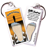 Turks & Caicos FootWhere® Souvenir Keychains. 6 Piece Set. Made in USA