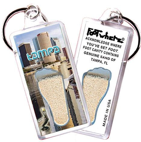 Tampa FootWhere® Souvenir Keychain.  Made in USA - FootWhere® Souvenirs