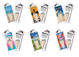 Turks & Caicos FootWhere® Souvenir Zipper-Pulls. 6 Piece Set. Made in USA