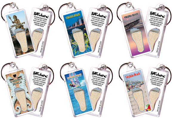 Virginia Beach FootWhere® Souvenir Keychains. 6 Piece Set. Made in USA