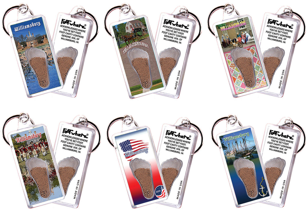 Williamsburg FootWhere® Souvenir Keychains. 6 Piece Set. Made in USA