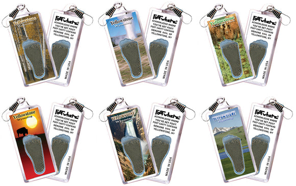 Yellowstone FootWhere® Souvenir Zipper-Pulls. 6 Piece Set. Made in USA