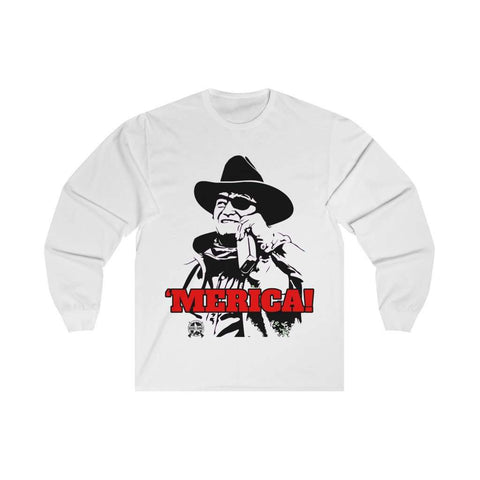 Image of Merica John Wayne Drinkin Whiskey Long Sleeve T-Shirt