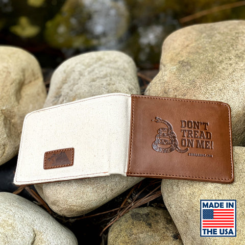 Image of Limited: Don't Tread On Me Leather & Canvas Debossed Wallet with Secret Compartments 🔥