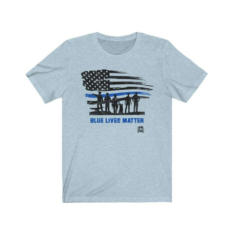 Image of Blue Lives Matter with American Flag Premium Jersey T-Shirt