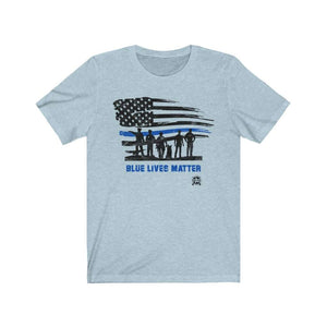 Blue Lives Matter with American Flag Premium Jersey T-Shirt