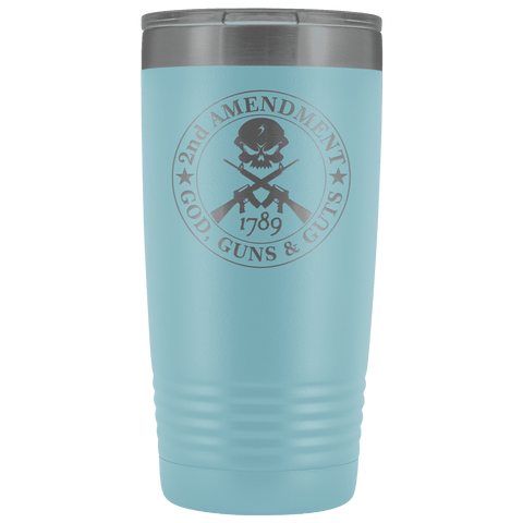 Image of 2nd Amendment - God, Guns & Guts Stainless Etched Tumbler