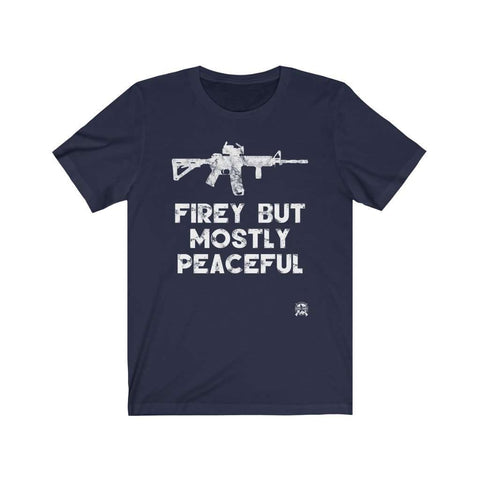Image of Firey But Mostly Peaceful Premium Jersey T-Shirt Hilarious 🤣