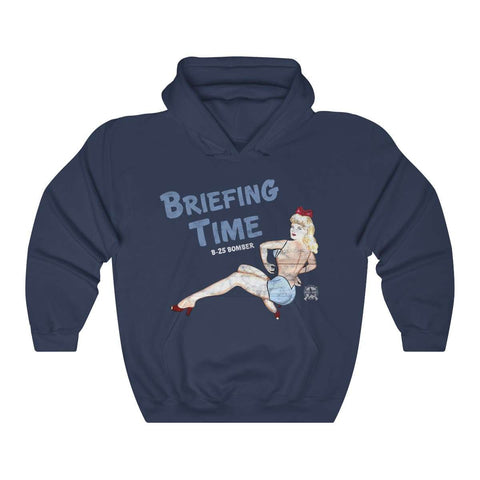 Image of Briefing Time - Retro WWII Airplane Nose Art Hoodie