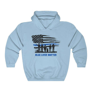 Blue Lives Matter with American Flag Hoodie